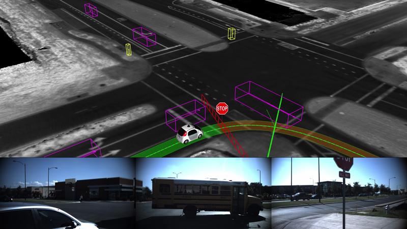 Modélisation par une voiture sans pilote de son itinéraire, de la signalisation et des obstacles en 3D